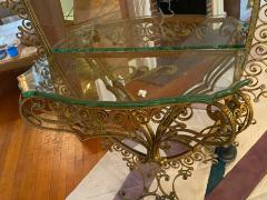 MONUMENTAL1940s ITALIAN GILT WROUGHT IRON AND ETCHED MIRROR - 1909766