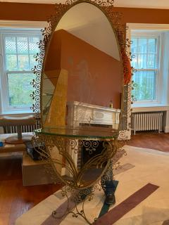 MONUMENTAL1940s ITALIAN GILT WROUGHT IRON AND ETCHED MIRROR - 1909767
