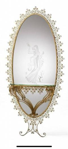 MONUMENTAL1940s ITALIAN GILT WROUGHT IRON AND ETCHED MIRROR - 1909768
