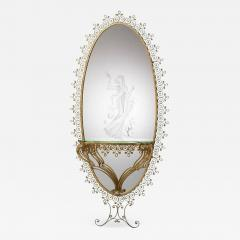 MONUMENTAL1940s ITALIAN GILT WROUGHT IRON AND ETCHED MIRROR - 1912047