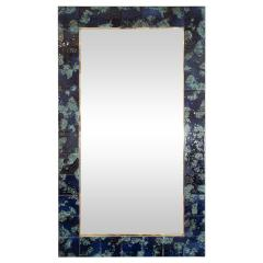 MOTTLED BLUE CERAMIC TILE MIRROR - 1044593