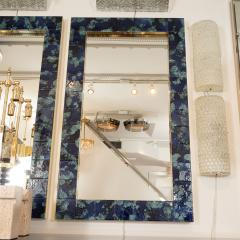 MOTTLED BLUE CERAMIC TILE MIRROR - 1044594