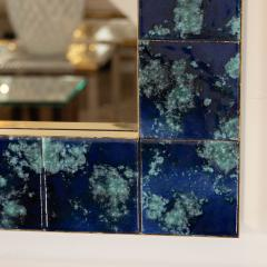 MOTTLED BLUE CERAMIC TILE MIRROR - 1044595
