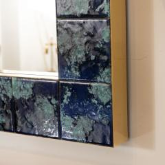 MOTTLED BLUE CERAMIC TILE MIRROR - 1044596