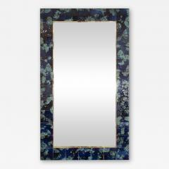 MOTTLED BLUE CERAMIC TILE MIRROR - 1045145