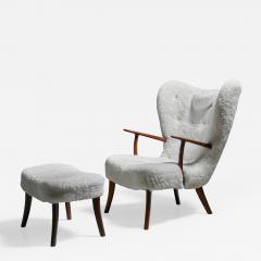 Madsen Sch bel Madsen and Sch bel Pragh Lounge Chair with Ottoman Denmark 1950s - 1054972
