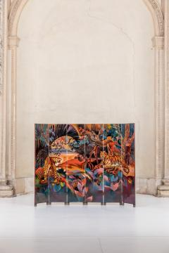 Magnificent Art Deco Laquered Screen Double Sided - 994909