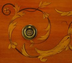 Mahogany Tall Chest with Trompe Loeil Neoclassical Marquetry - 52559
