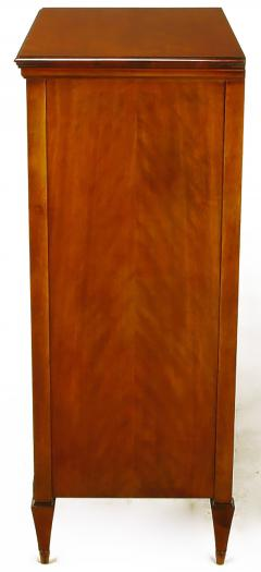 Mahogany Tall Chest with Trompe Loeil Neoclassical Marquetry - 52560