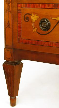 Mahogany Tall Chest with Trompe Loeil Neoclassical Marquetry - 52561