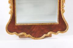 Mahogany Wood Hand Carved Beveled Wall Mirror - 1574336