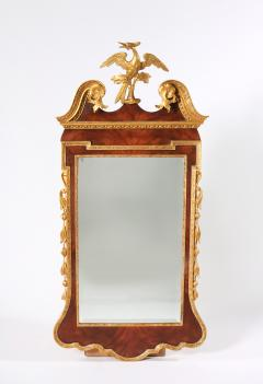 Mahogany Wood Hand Carved Beveled Wall Mirror - 1574341