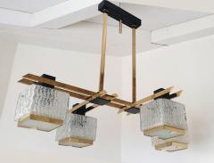 Maison Arlus Geometric Mid Century Modern chandelier by Maison Arlus circa 1950s - 935701