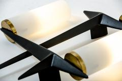 Maison Arlus Pair of 1960s brass black metal and opaline sconces signed Arlus - 1504602