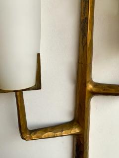 Maison Arlus Pair of Bronze Sconces Opalin Glass by Maison Arlus France 1960s - 1206988