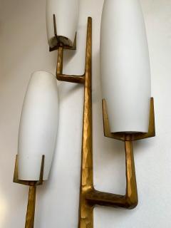 Maison Arlus Pair of Bronze Sconces Opalin Glass by Maison Arlus France 1960s - 1206989