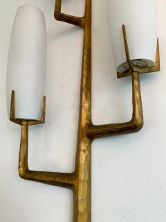 Maison Arlus Pair of Bronze Sconces Opalin Glass by Maison Arlus France 1960s - 1206991