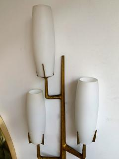 Maison Arlus Pair of Bronze Sconces Opalin Glass by Maison Arlus France 1960s - 1206994