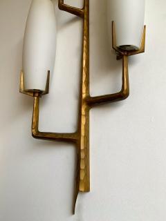 Maison Arlus Pair of Bronze Sconces Opalin Glass by Maison Arlus France 1960s - 1206995