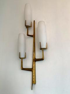 Maison Arlus Pair of Bronze Sconces Opalin Glass by Maison Arlus France 1960s - 1206998