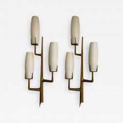 Maison Arlus Pair of Bronze Sconces Opalin Glass by Maison Arlus France 1960s - 1208123