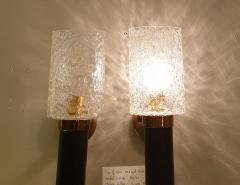 Maison Arlus Pair of brass glass Mid Century Modern sconces Maison Arlus style France - 1315839