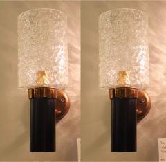 Maison Arlus Pair of brass glass Mid Century Modern sconces Maison Arlus style France - 1315842