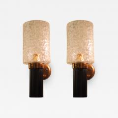 Maison Arlus Pair of brass glass Mid Century Modern sconces Maison Arlus style France - 1318662
