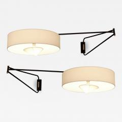 Maison Arlus Pair of large adjustable and foldable wall lights by Arlus France circa 1950 - 1311691