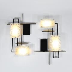 Maison Arlus Rare large pair of geometric wall lights - 1514700