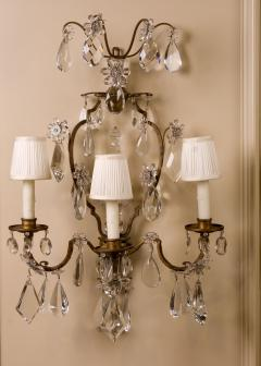 Maison Bagu s A Fine Pair of 19th Century Crystal and Bronze Sconces Attributed to Bagues - 63519