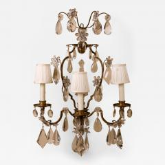 Maison Bagu s A Fine Pair of 19th Century Crystal and Bronze Sconces Attributed to Bagues - 66081