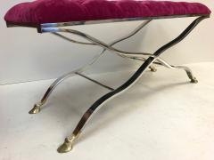 Maison Bagu s Maison Bagues Iron and Bronze Tufted Bench in Mohair Fabric - 502755