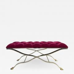 Maison Bagu s Maison Bagues Iron and Bronze Tufted Bench in Mohair Fabric - 503847