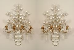 Maison Bagu s Pair of French Art Deco Bagues Gilt Metal and Rock Crystal 4 Arm Wall Sconces - 465339