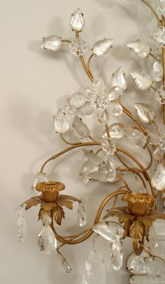 Maison Bagu s Pair of French Art Deco Bagues Gilt Metal and Rock Crystal 4 Arm Wall Sconces - 465340
