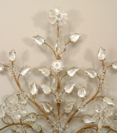 Maison Bagu s Pair of French Art Deco Bagues Gilt Metal and Rock Crystal 4 Arm Wall Sconces - 465341