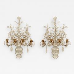 Maison Bagu s Pair of French Art Deco Bagues Gilt Metal and Rock Crystal 4 Arm Wall Sconces - 470456