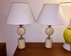 Maison Barbier Pair of Barbier Nickel and Travertine Table Lamps - 1054439