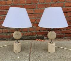 Maison Barbier Pair of Barbier Nickel and Travertine Table Lamps - 1054442