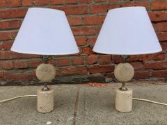 Maison Barbier Pair of Barbier Nickel and Travertine Table Lamps - 1054443
