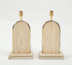 Maison Barbier Pair of travertine and gilt metal table lamps Belgium 1970s - 1740029