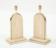 Maison Barbier Pair of travertine and gilt metal table lamps Belgium 1970s - 1740030