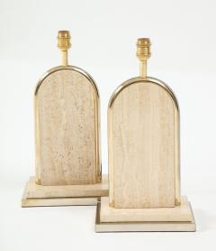 Maison Barbier Pair of travertine and gilt metal table lamps Belgium 1970s - 1740031