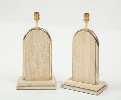 Maison Barbier Pair of travertine and gilt metal table lamps Belgium 1970s - 1740032