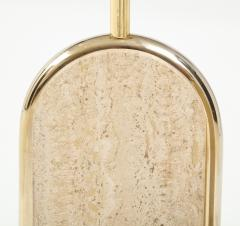 Maison Barbier Pair of travertine and gilt metal table lamps Belgium 1970s - 1740036