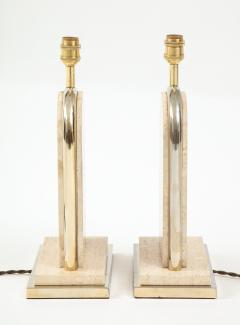 Maison Barbier Pair of travertine and gilt metal table lamps Belgium 1970s - 1740037