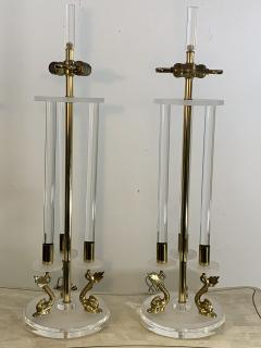 Maison Charles CLEAR FROSTED LUCITE WITH BRASS DOLPHIN LAMPS IN THE MANNER OF MAISON CHARLES - 1033125