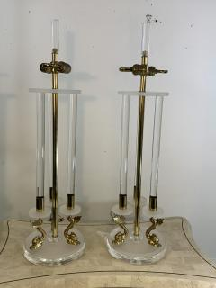 Maison Charles CLEAR FROSTED LUCITE WITH BRASS DOLPHIN LAMPS IN THE MANNER OF MAISON CHARLES - 1033127