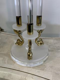 Maison Charles CLEAR FROSTED LUCITE WITH BRASS DOLPHIN LAMPS IN THE MANNER OF MAISON CHARLES - 1033128